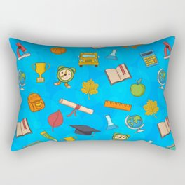 Back to school on blue background Rectangular Pillow