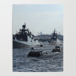 Russian Navy Battleships with passenger boats on Neva River. Poster
