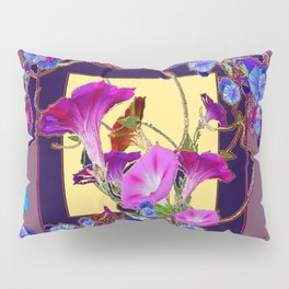 Puce Purple Morning Glories Butterfly Patterns Brown Art Pillow Sham