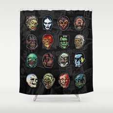Horror Movie Monster Masks (color) Shower Curtain