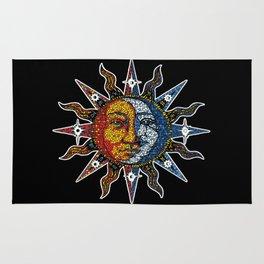 Celestial Mosaic Sun and Moon Rug