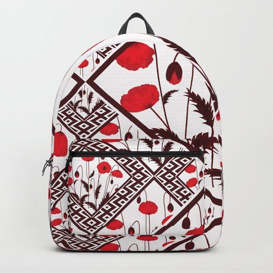 Bright floral pattern on a white background with decorative elements. Backpack