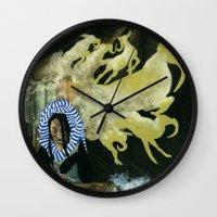 mythology Wall Clocks featuring Inuit Mythology: Chapter 1, part 2 by Estúdio Marte