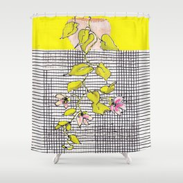 Tender, little hanging plant with stripes and checks, no. 24 Shower Curtain
