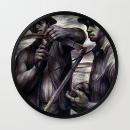 African American Masterpiece 'The Revolt (the harvest) by C. White Wall Clock