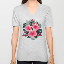 Tropical Flowers. Pink Hibiscus Unisex V-Neck