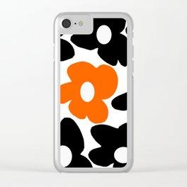 Large Orange and Black Retro Flowers White Background #decor #society6 #buyart Clear iPhone Case