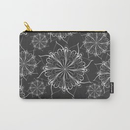 Hand painted black white mandala floral pattern Carry-All Pouch