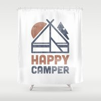 backpack Shower Curtains featuring Happy Camper by Zeke Tucker