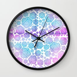 Pink & Blue Glow d20 Collage Wall Clock
