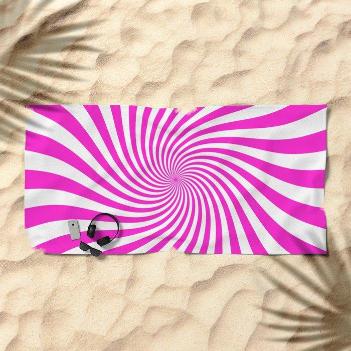 Swirl (Hot Magenta/White) Beach Towel