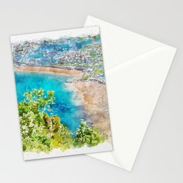 Aquarelle sketch art. Aerial view of San Sebastian, Donostia, Spain on a beautiful summer day. Stationery Cards