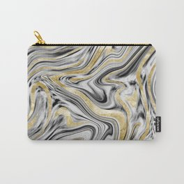 Gray Black White Gold Marble #1 #decor #art #society6 Carry-All Pouch