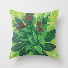 Aralia Leaf, Leaves and Orchids, Floral Pastel Throw Pillow