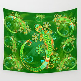 Gecko Lizard Colorful Tattoo Style Wall Tapestry