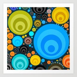 Retro Circular Pattern Design Art Print