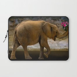 Cheerful elephant with flowers Laptop Sleeve