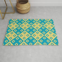 Diagonal squares in teal and yellow colours Rug