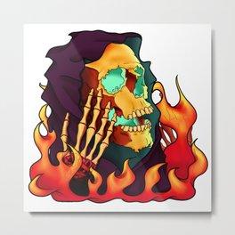 Burning Wizard Metal Print
