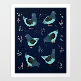 Pigeon Party Art Print