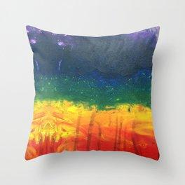 painted rainbow Throw Pillow