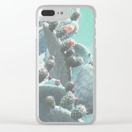 Green Flowering Cacti Clear iPhone Case