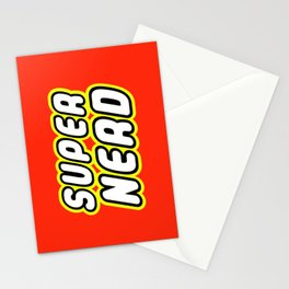 SUPER NERD in Brick Font Logo Design by Chillee Wilson Stationery Cards