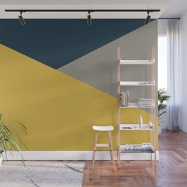Envelope - Minimalist Geometric Color Block in Light Mustard Yellow, Navy Blue, and Gray Wall Mural