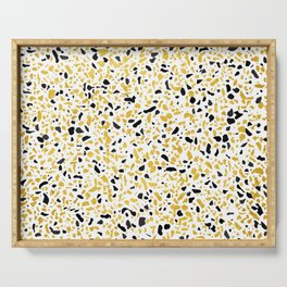 Terrazzo Memphis gold black white Serving Tray