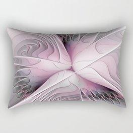 Fantasy Flower, Pink And Gray Fractal Art Rectangular Pillow