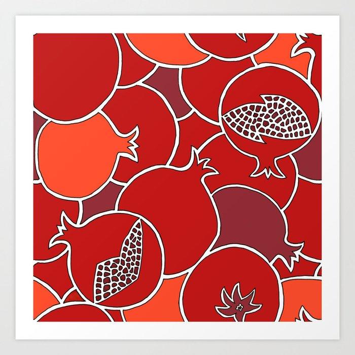 Pomegranate Harvest with Fruit and Seeds Kunstdrucke