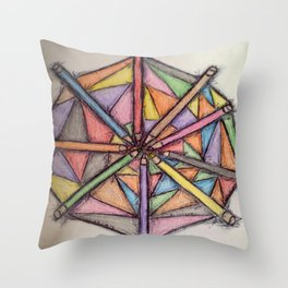 Color pencils  pallet play Throw Pillow