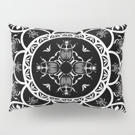 Scarab tile line pattern with black Background Pillow Sham