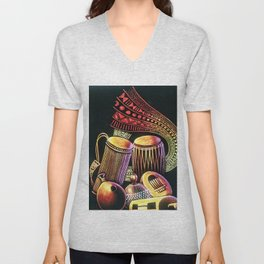 African Musical Instrument Collection Unisex V-Neck