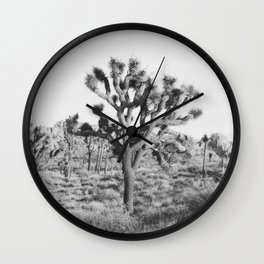 Large Joshua Tree in Black and White Wall Clock