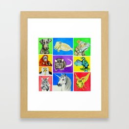 First Set of Ten Colourful Animals Framed Art Print