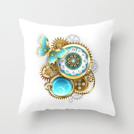Clock and Gear with Butterfly ( Steampunk ) Throw Pillow