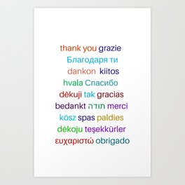 Thank you in different languages Art Print
