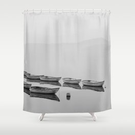 Small boat lake black white Shower Curtain
