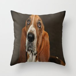 Lost In Thought Basset Hound Dog Throw Pillow