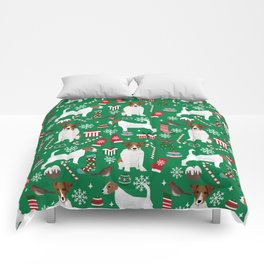Jack Russell Terrier christmas festive holiday red and green dog lover gifts Comforters