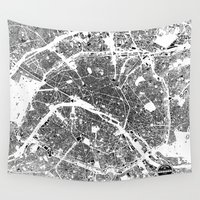 paris Wall Tapestries featuring PARIS by Maps Factory