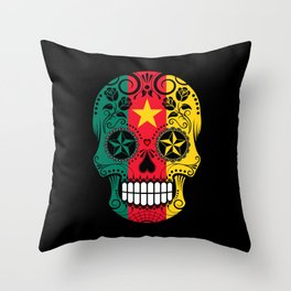 Sugar Skull with Roses and Flag of Cameroon Throw Pillow