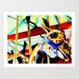Carousel Giraffe Art Print