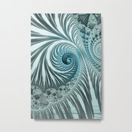 Fascinating Fractals Ice Blue Turquoise Elegance Metal Print