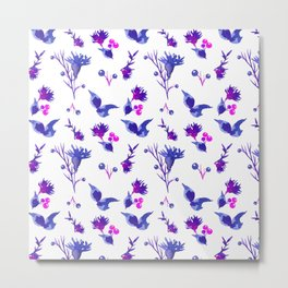 Abstract pink violet purple watercolor hand painted floral Metal Print
