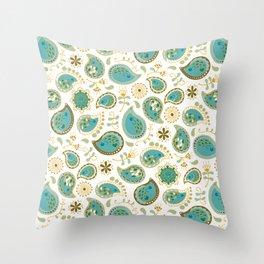 Hedgehog Paisley_Teal BgWhite Throw Pillow