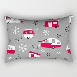 Red Campers on Charcoal Rectangular Pillow