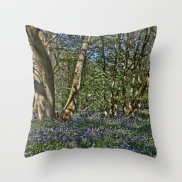 Bluebells in the woods Throw Pillow
