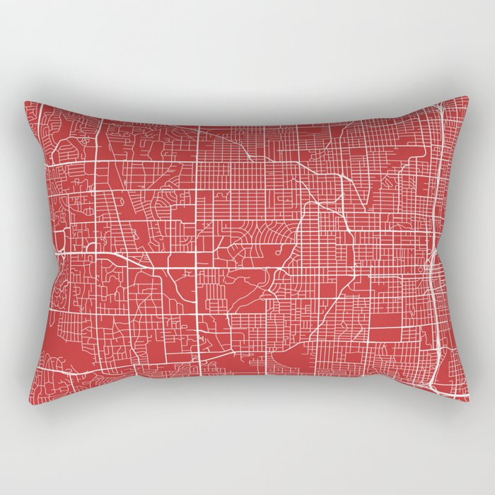 Omaha Map, USA - Red Rectangular Pillow